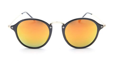 Black and Gold Round Sunglasses - Santorini