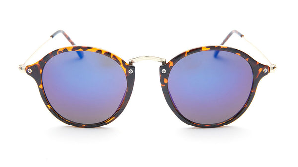 Tortoise Blue Mirrored Round Sunglasses - Santorini