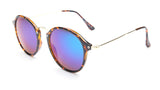 Blue Mirrored Tortoise Round Sunglasses - Santorini
