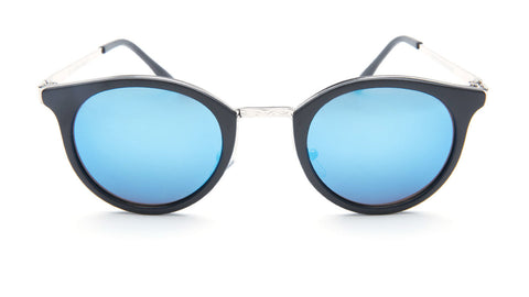 Blue Mirrored Round Sunglasses with Black Frame - Lima