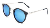 Round Blue Mirrored Sunglasses with Black Frame - Lima