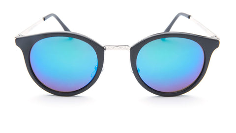 Blue Mirror Round Sunglasses with Black Frame - Lima