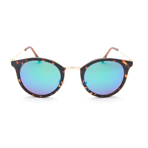 Blue Mirrored Round Tortoise Shell Sunglasses - Lima