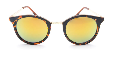 Yellow Mirror Round Tortoise Shell Sunglasses - Lima