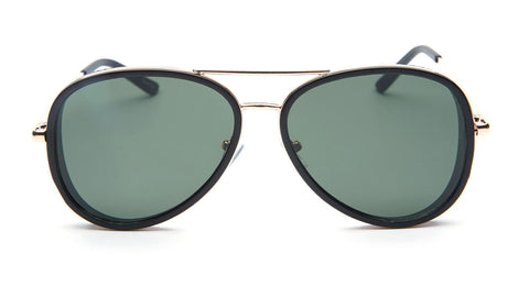 Black Aviator Sunglasses with Gold Trim - Del Mar