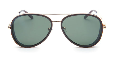 Black and Gold Aviator Sunglasses - Del Mar