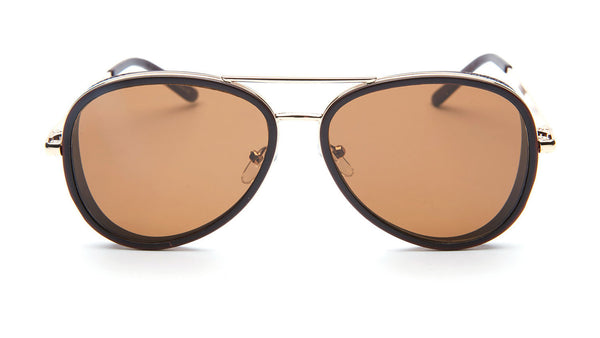Gold and Brown Aviator Sunglasses - Del Mar