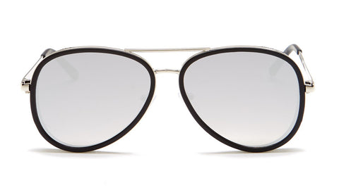 Classic Black Frame Aviator Sunglasses - Del Mar