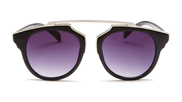 Silver and Black Round Sunglasses - Bacara