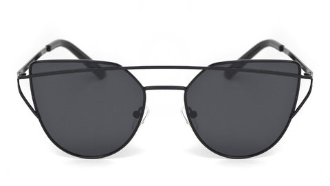 Metal Matte Black Cat Eye Sunglasses - Sonoma