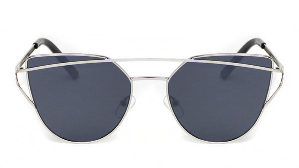Metal Silver Cat Eye Sunglasses w/ Black Lens - Sonoma