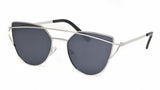 Silver Metal Cat Eye Sunglasses w/ Black Lens - Sonoma