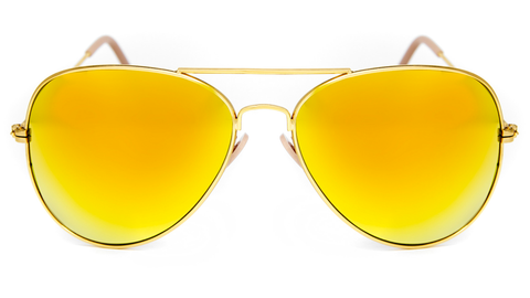 Yellow Mirror Aviator Sunglasses in Gold - Miramar