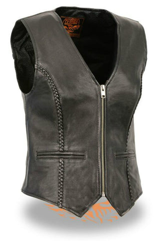 Ladies Zipper Front Braided Vest #4550
