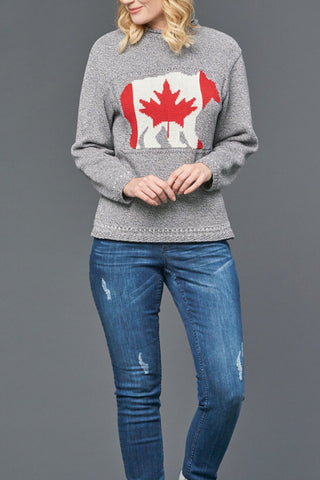 Bear with Canada Flag Sweater