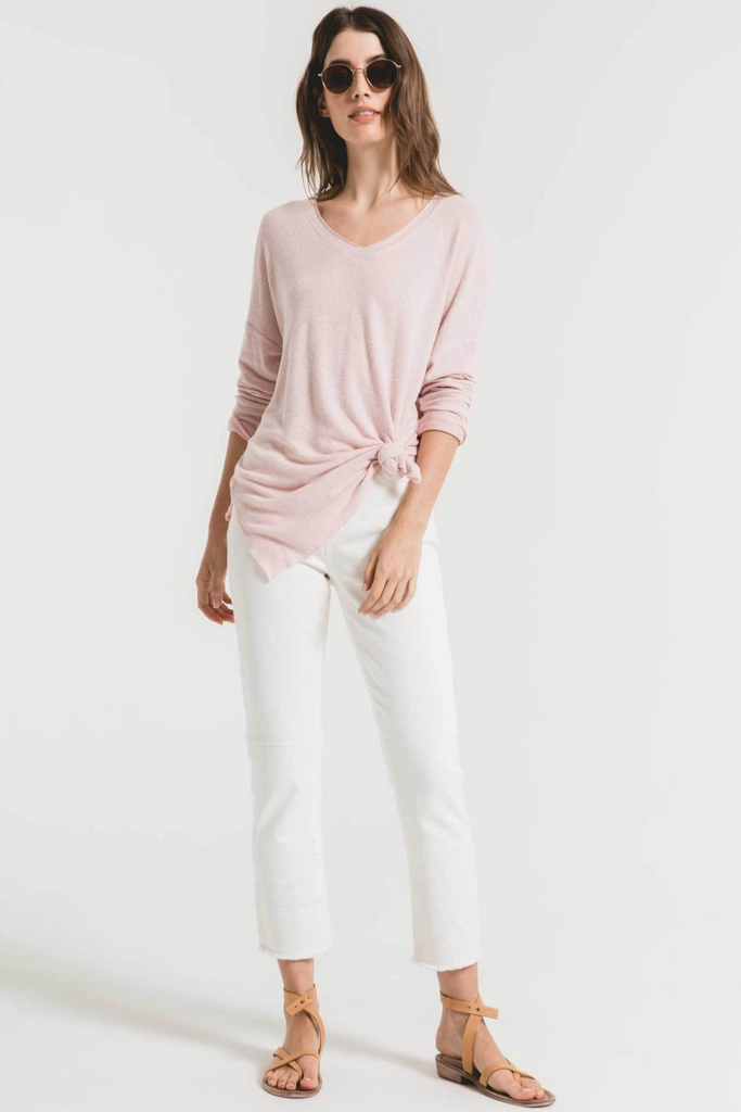 Marled Sweater Knit V-Neck