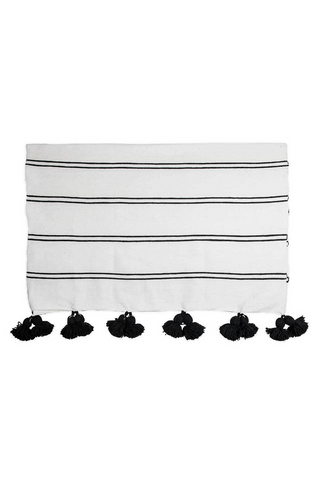 Pom Pom Double Black Throw