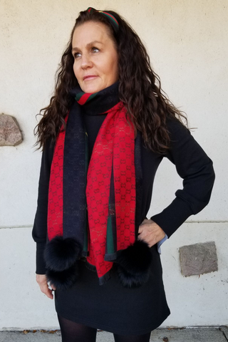 Woven Scarf with Fox Pom