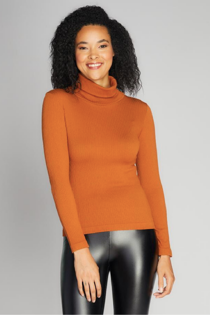 Seamless Rib Turtleneck Top