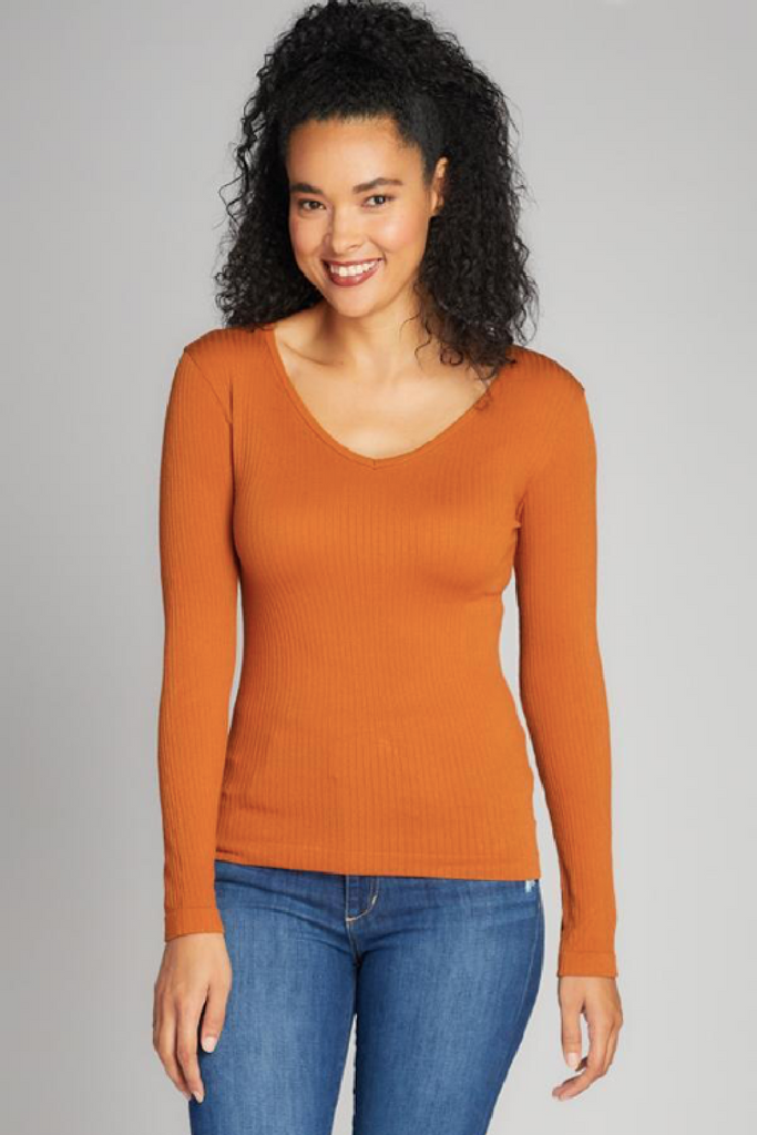 Seamless Rib V-Neck Top