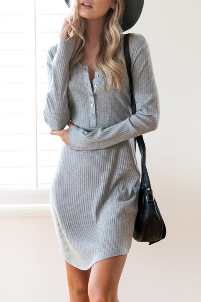 Brushed Rib Henley Mini Dress