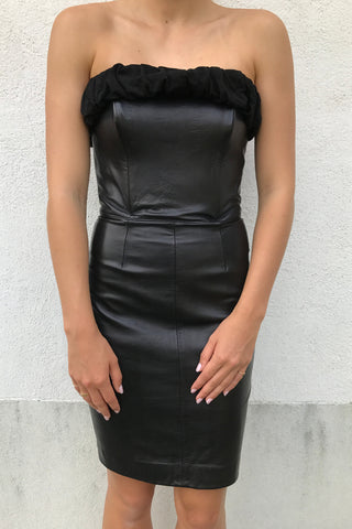 Strapless Leather Dress