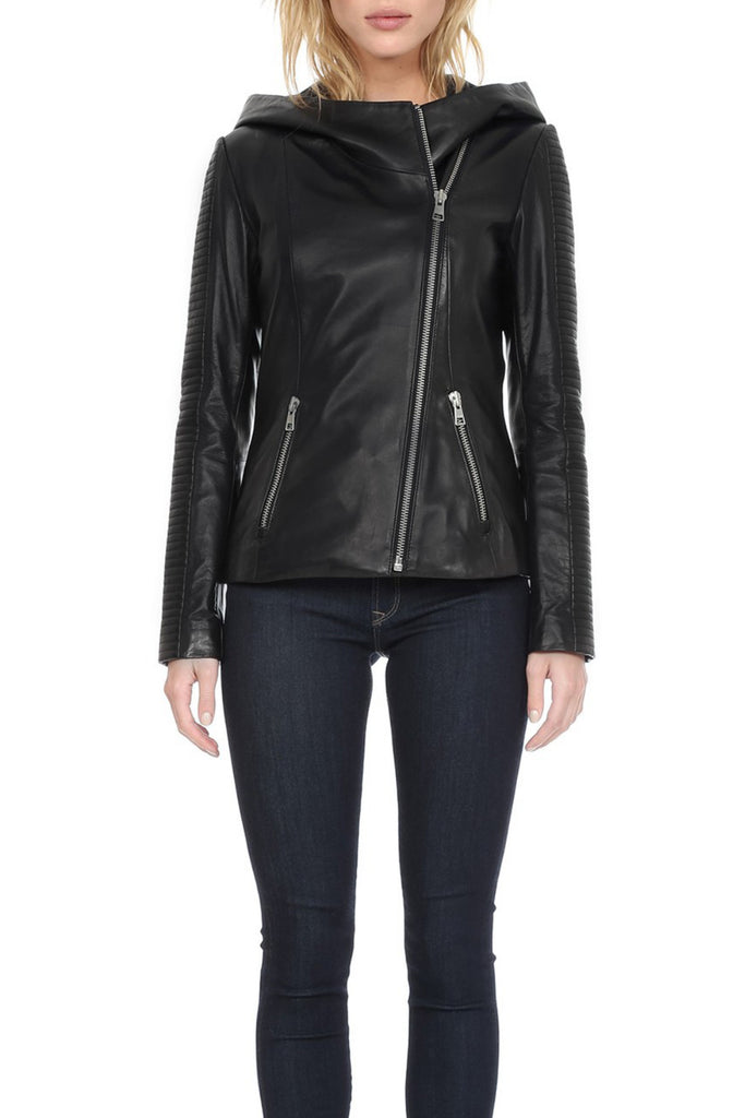 Lexine Leather Jacket with Quilted Sleeves