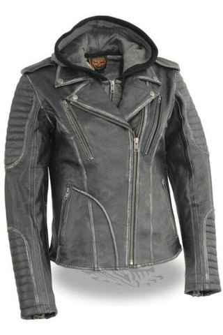 Ladies Distressed Jacket with Hood #2516