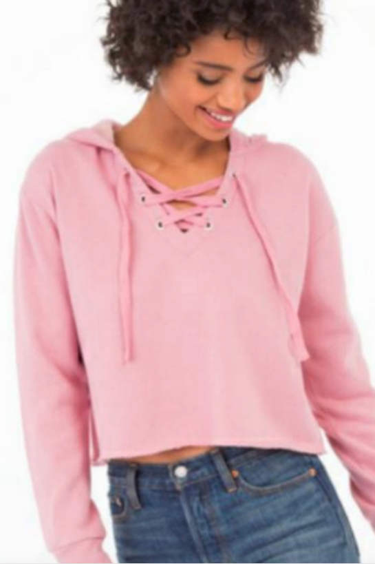 The Lace Up Hoodie Crop Fleece