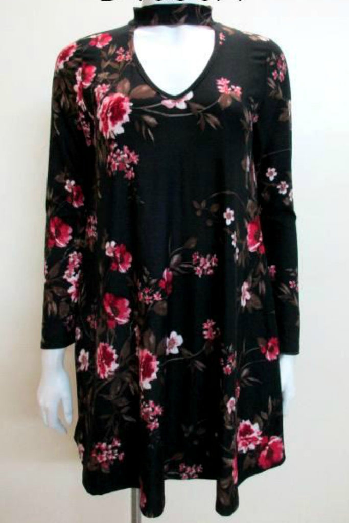 Floral Brush Knit Chocker Dress