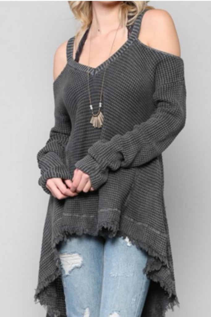 Cold Shoulder Waffle Knit Long Sleeve Hi-lo Pull Over Sweater Top