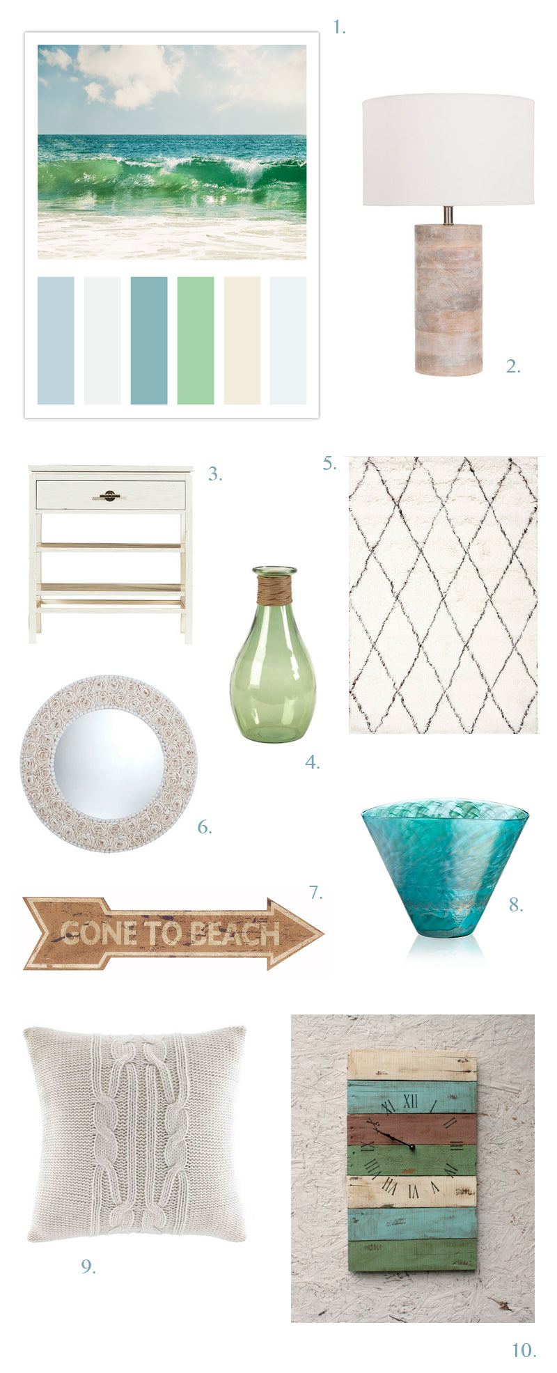 Beach Decor Moodboard by CarolynCochrane.com