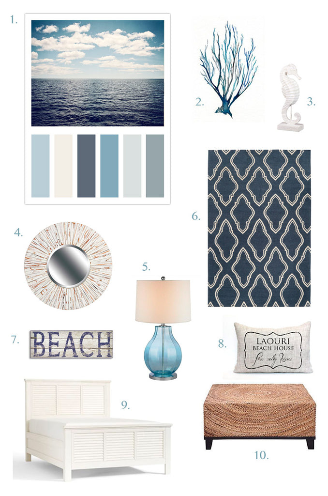 Blue Coastal Decor Moodboard Beach Decorating