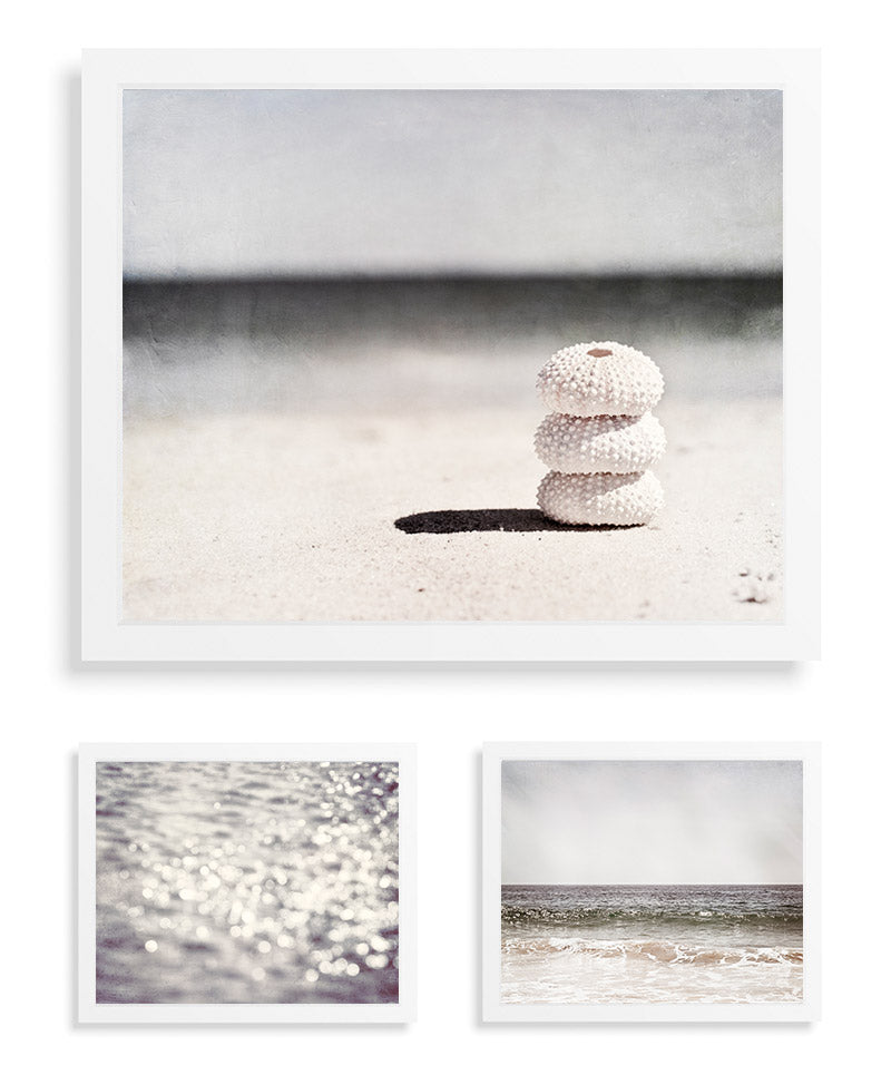 Grey Beach Photography by CarolynCochrane.com | Neutral Coastal Wall Decor