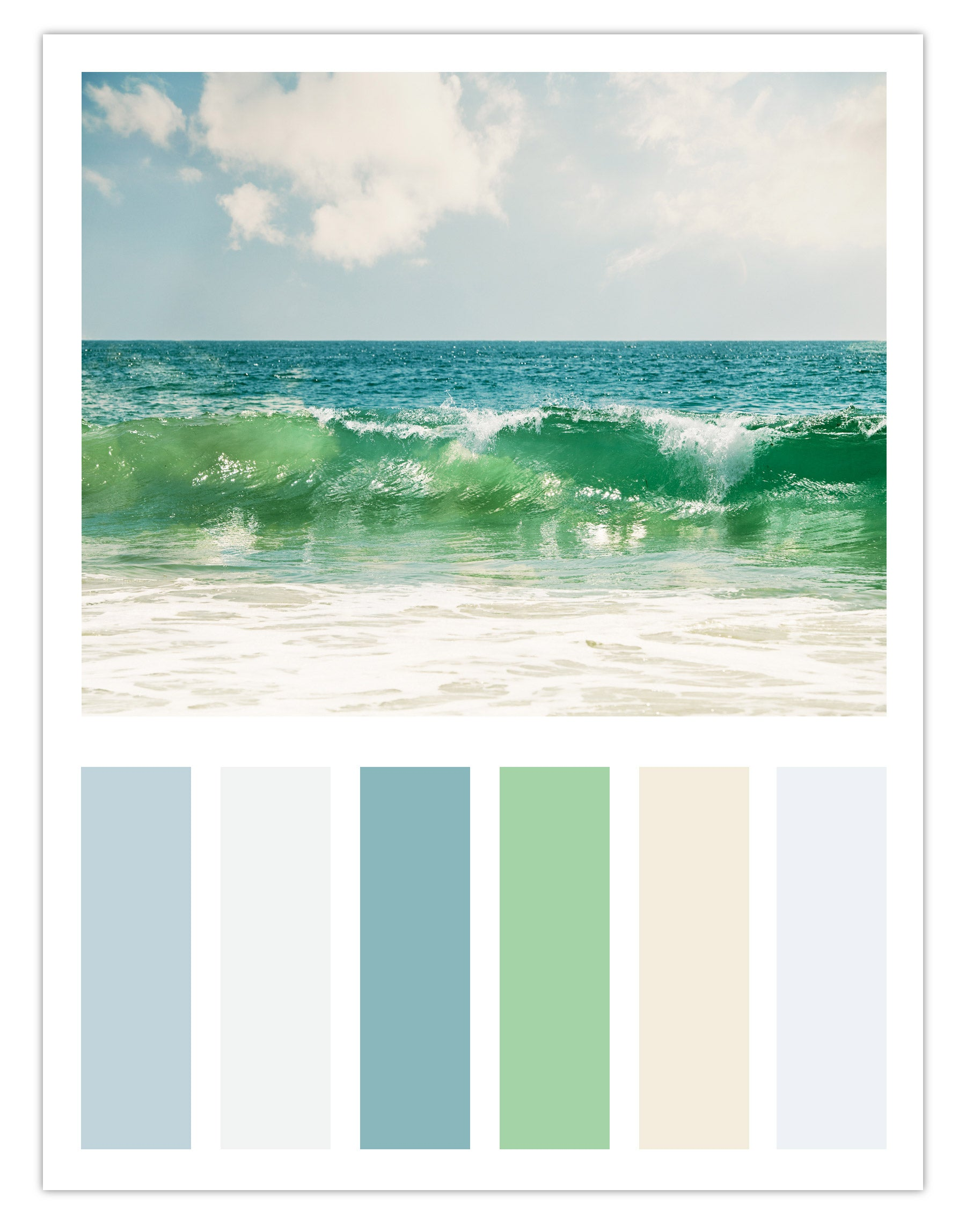 "Coastal Color Palette Inspired by Carolyn Cochrane's Ocean Photograph, ""I Belong to the Sea"""