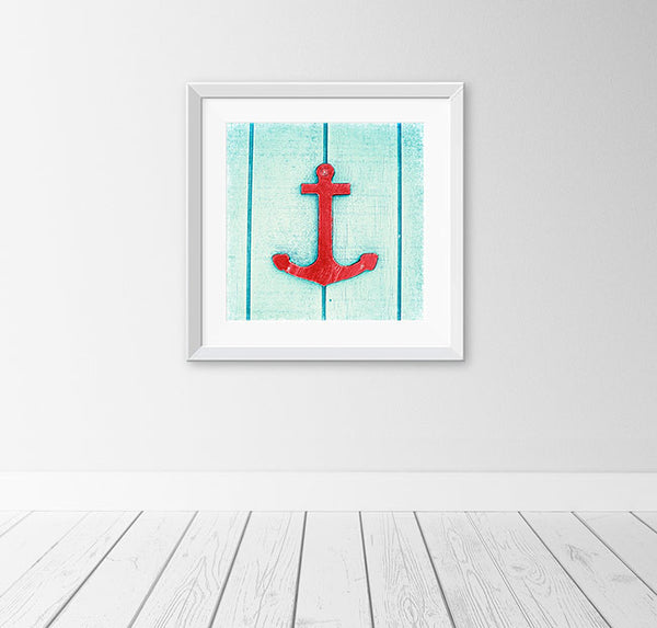 Red Anchor Photography by Carolyn Cochrane | Aqua Blue Nautical Art Print