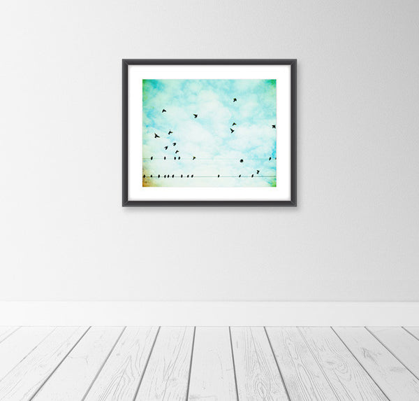 Aqua Bird Nursery Art by carolyncochrane.com