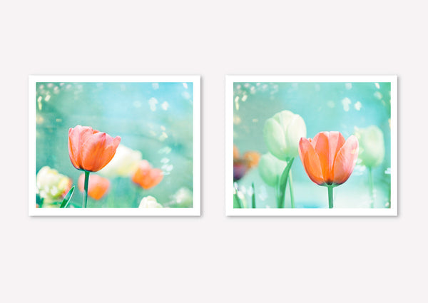 Aqua Peach Nursery Flower Art Set by carolyncochrane.com