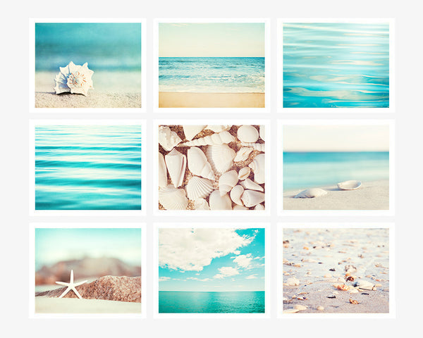 Turquoise Beach Photo Set of 9