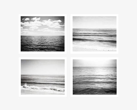 Black white ocean prints set of 4