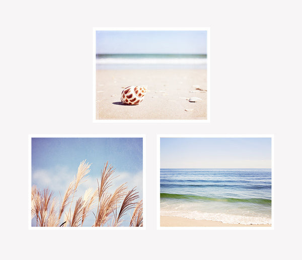 Blue Beach Photography Art Set by CarolynCochrane.com
