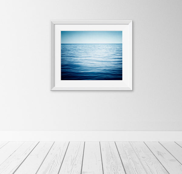 Dark Blue Minimal Ocean Photography Print by carolyncochrane.com