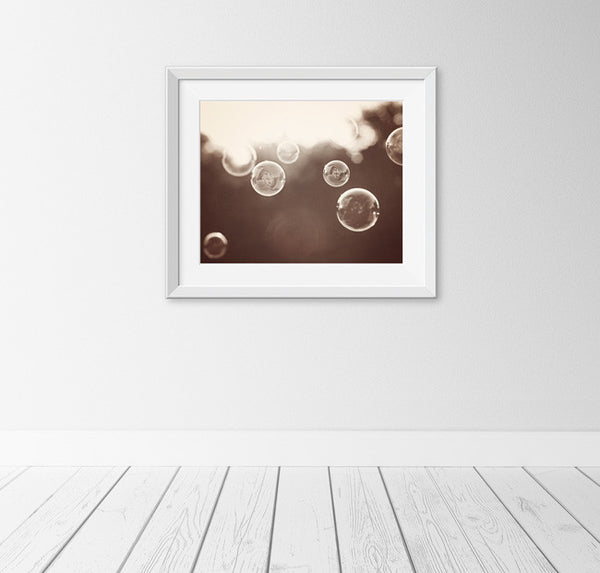 Bubble Photography Print by carolyncochrane.com | Brown Bathroom or Laundry Room Decor