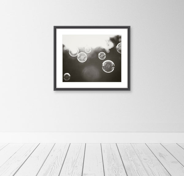Black and White Bathroom Art by carolyncochrane.com | Laundry Soap Bubbles Decor