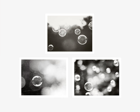 Bubble Photography Set by carolyncochrane.com | Black and White Bathroom and Laundry Art