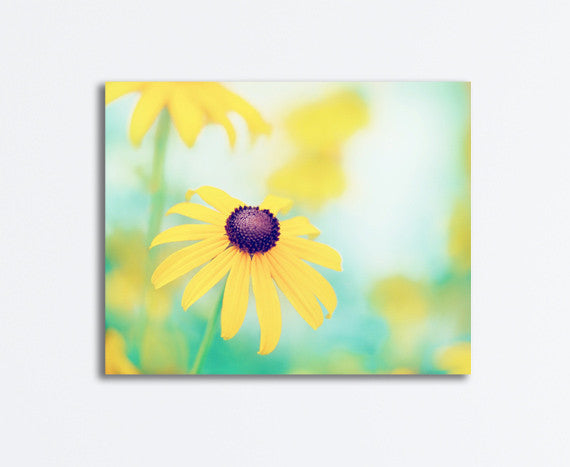 Yellow Turquoise Flower Canvas Photography by carolyncochrane.com