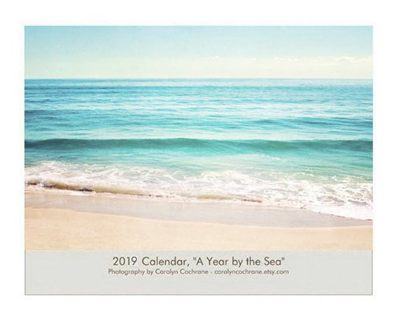 2019 Beach Wall Calender, Gift for Ocean Lover