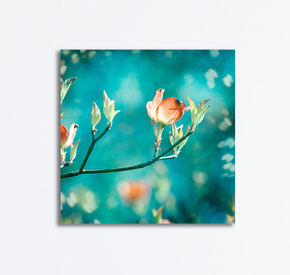 Teal Orange Flower Wall Decor by carolyncochrane.com