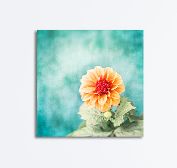 Aqua Blue Orange Flower Canvas by carolyncochrane.com