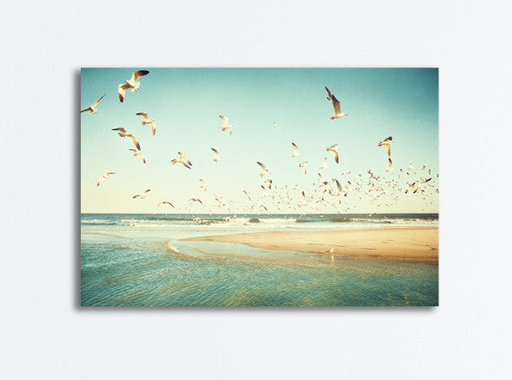 Birds Flying Beach Canvas Print by carolyncochrane.com